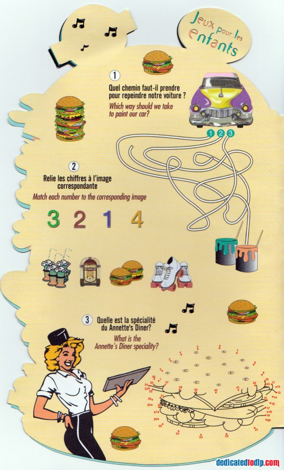Annette's Diner Kid's Menu Page 2