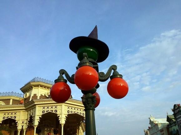 Halloween Lights on Main Street, U.S.A. in Disneyland Paris