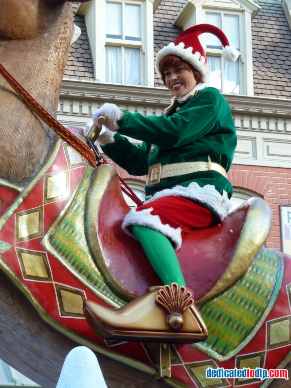 Elf on Reindeer in the Christmas Cavalcade in Disneyland Paris