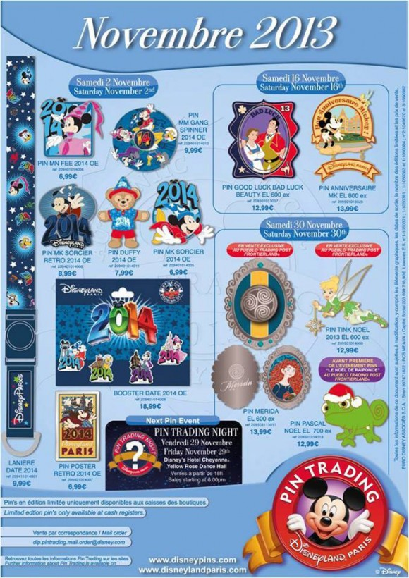 Disneyland Paris Pins for November 2013 – The New Year Is Coming