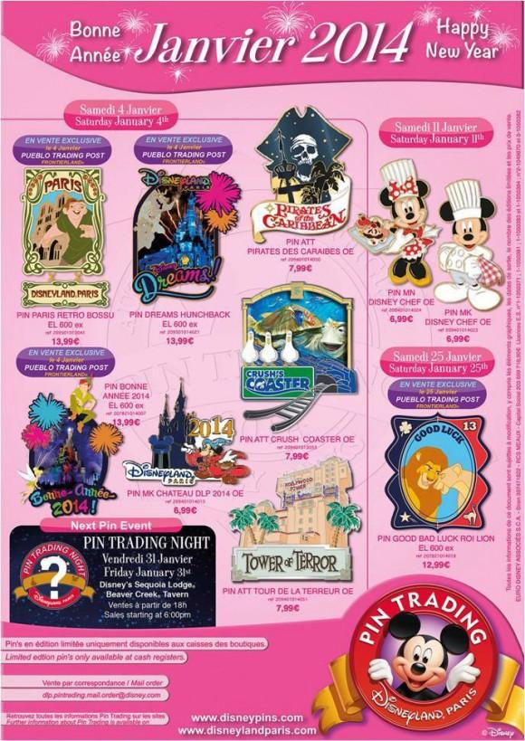 Disneyland Paris Pins for January 2014 - Attractions & Dreams!