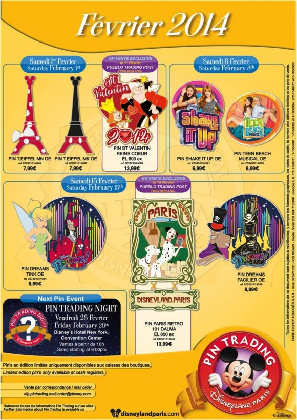 Disneyland Paris Pins for February 2014 – Paris, Tower, Dreams!, Hearts & What?