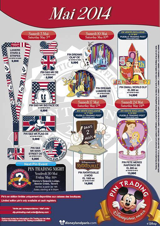 Disneyland Paris Pins for May 2014 – Stars, Stripes, Dreams!, Ratatouille