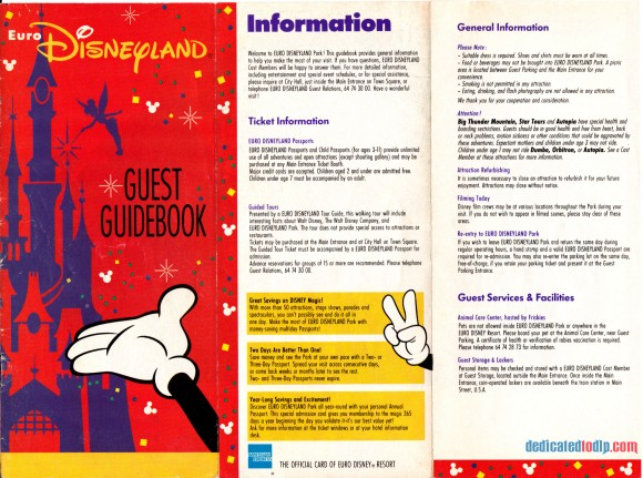 A Very Early Euro Disneyland Resort Guide, Front Cover and Information