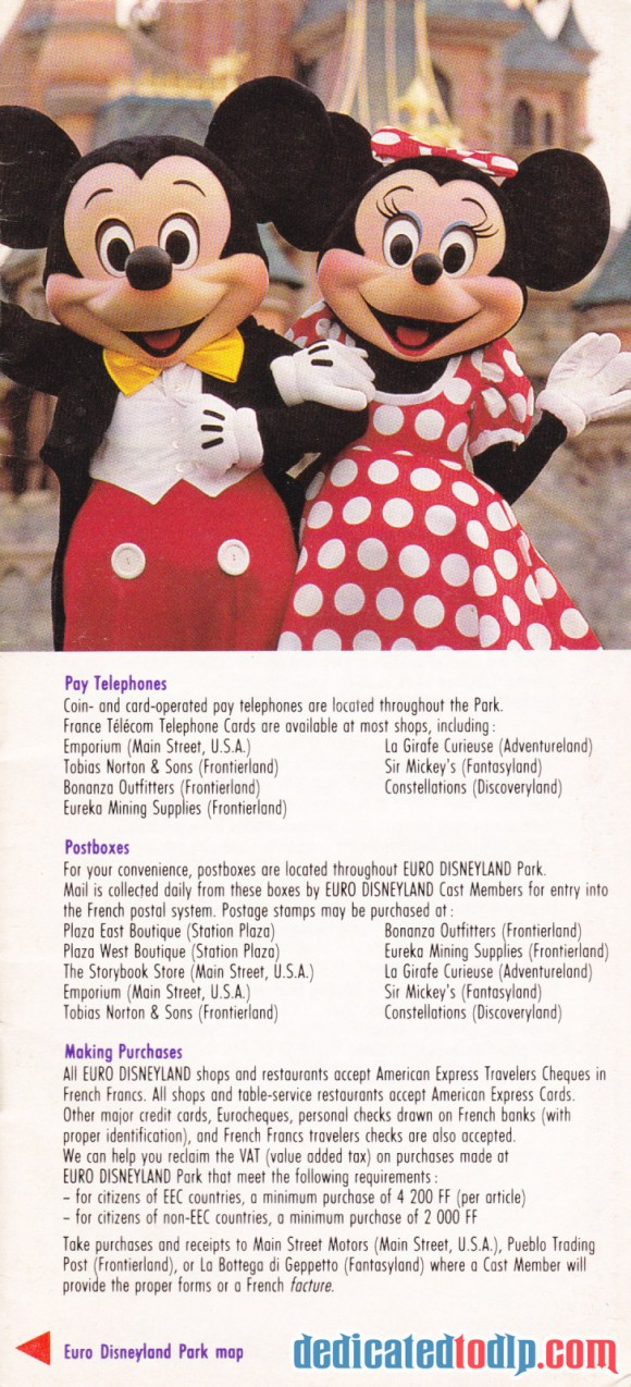 A Very Early Euro Disneyland Resort Guide, Information