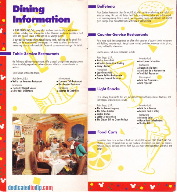 A Very Early Euro Disneyland Resort Guide, Dining Information