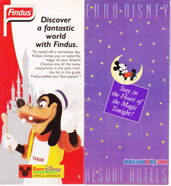 A Very Early Euro Disneyland Resort Guide, Findus Advert and Hotels Section Cover
