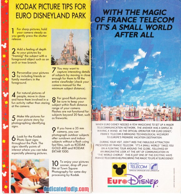 A Very Early Euro Disneyland Resort Guide, Kodak and France Telecom Sponsor Pages