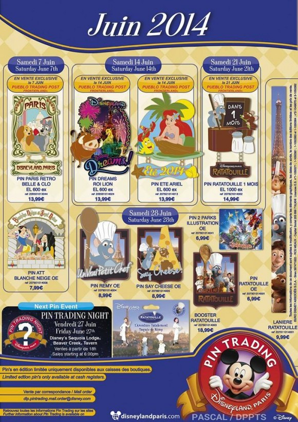 Disneyland Paris Pins for June 2014 – Ratatouille, Little Mermaid  and the Return of Attraction Pins!