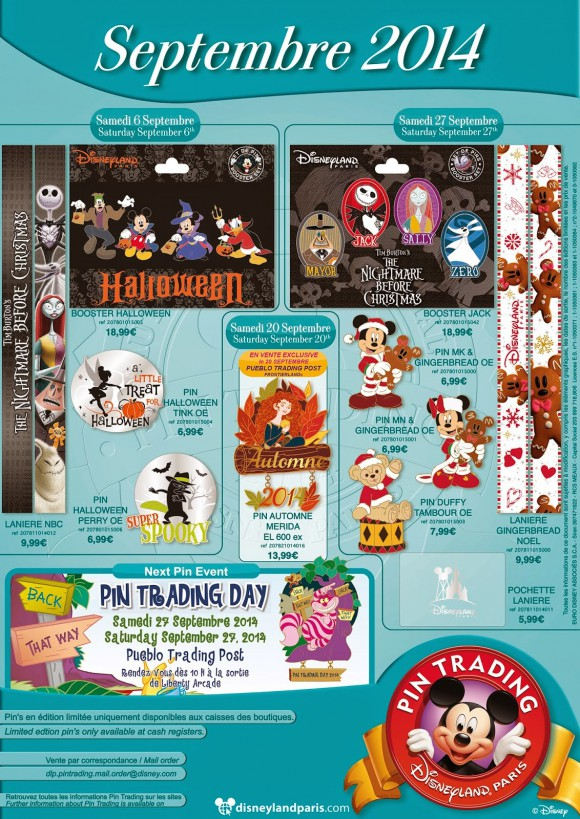 Disneyland Paris Pins for September 2014 - Halloween, Christmas, Autumn & Nightmare Before Christmas