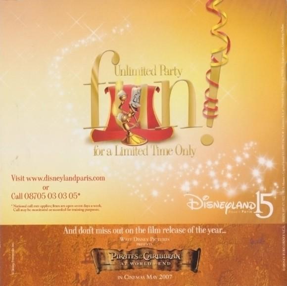 Disneyland Paris Magical Memorabilia: 15th Anniversary Booklet  Back Cover