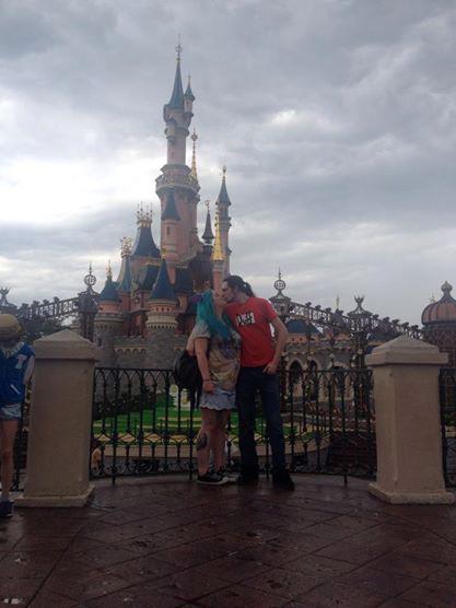 Becky & Boyfriend Having a Smooch in Front of the Castle