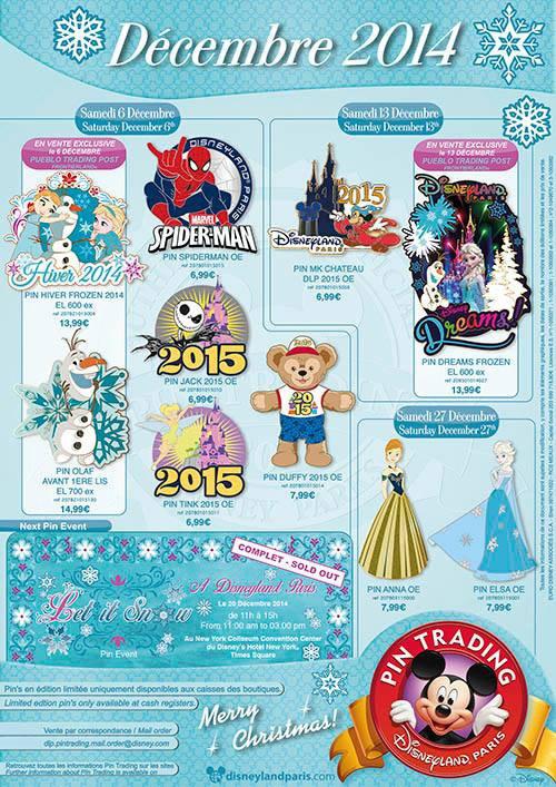 Disneyland Paris Pins for December 2014 – Anyone Like Frozen?
