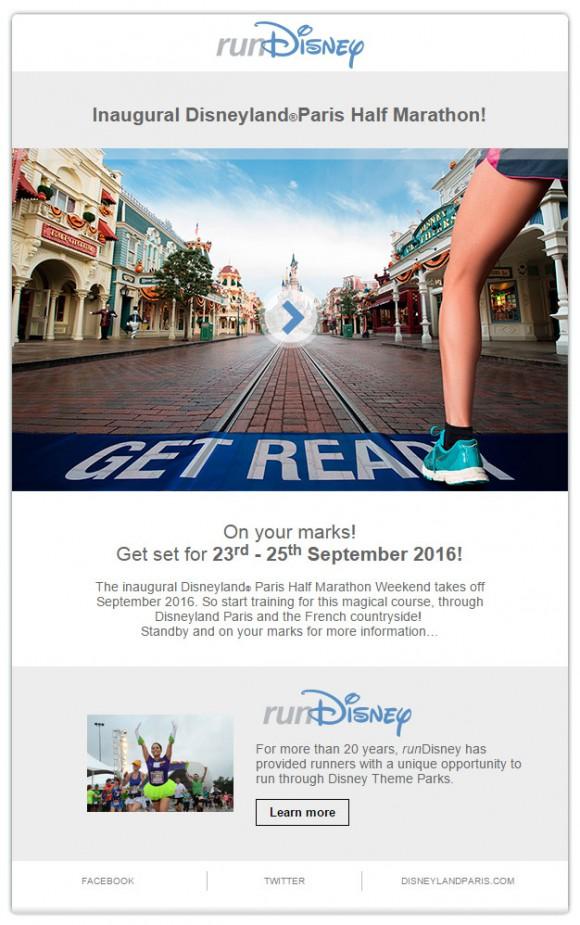 runDisney Disneyland Paris Half Marathon Half Weekend Email