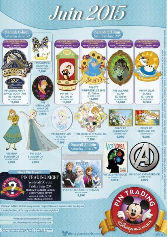 Disneyland Paris Pins for June 2015 – Frozen Summer Pins, Avengers, Space Mountain, Vice Versa & More!