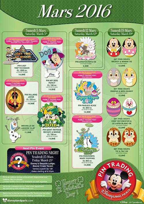 Disneyland Paris Pins for March 2016: It's all about Star Wars Endor, with Spring and Olaf!
