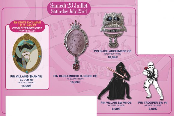 Disneyland Paris Pin Releases - 23rd July 2016