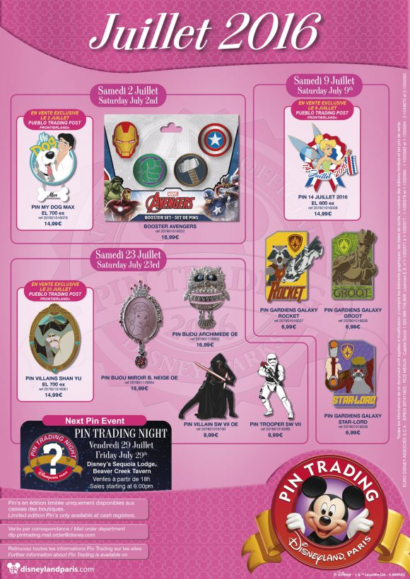 Disneyland Paris Pins For July 2016: Marvel, More Marvel and Some Disney Too!