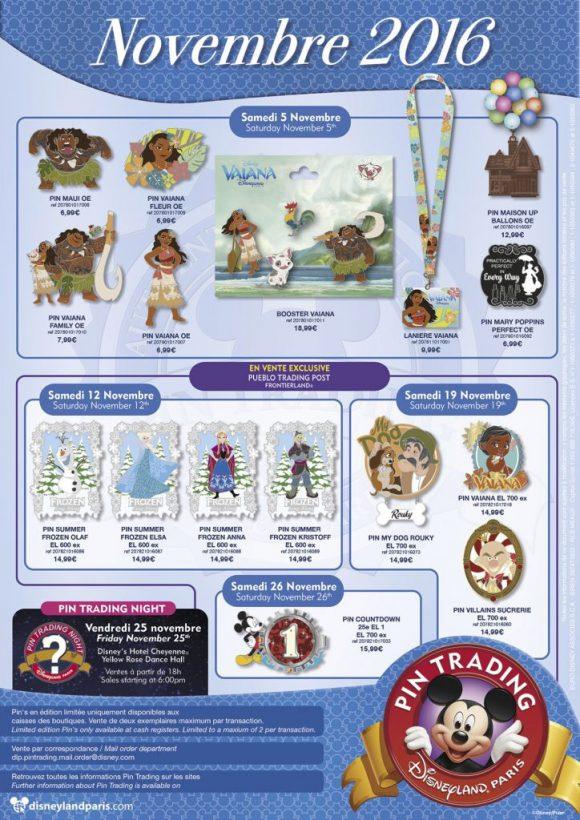 Disneyland Paris Pins For November 2016: Moana or Vaiana? Poppins, Frozen and Countdown