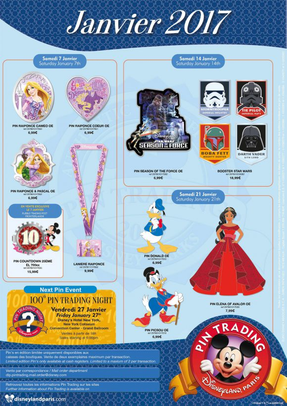 Disneyland Paris Pins January 2017 - Star Wars, Ducks & Rapunzel