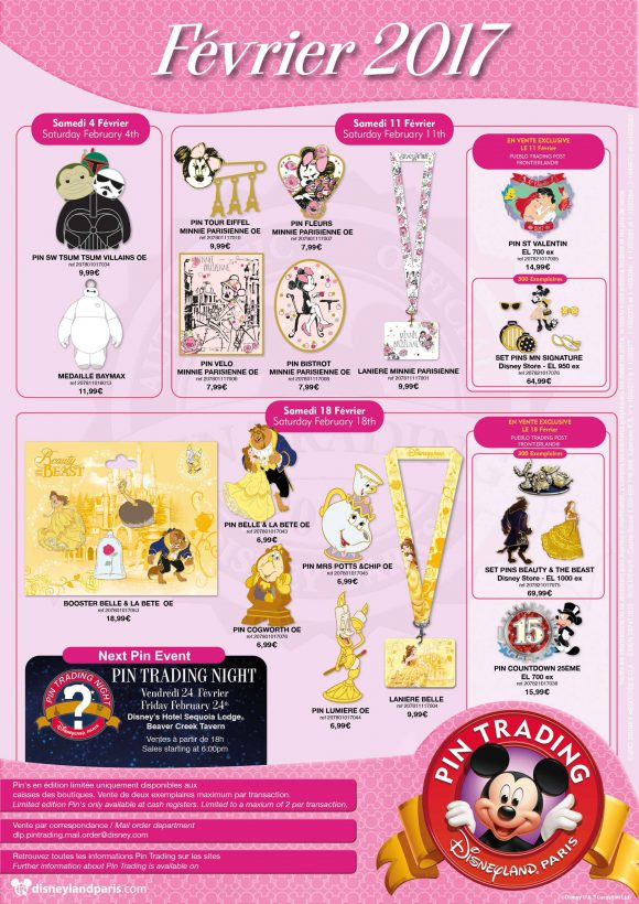 Disneyland Paris Pins February 2017 - Beauty and the Beast, Parisienne Minnie & Star Wars
