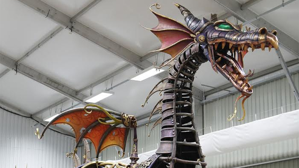 The Steampunk Dragon for Disney Stars in Parade has Arrived in Disneyland Paris and it Breaths Fire!