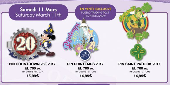 Disneyland Paris Pins For March 11th 2017