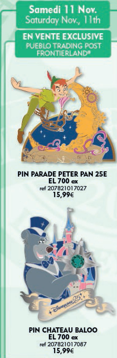 Disneyland Paris Pins For November 11th 2017