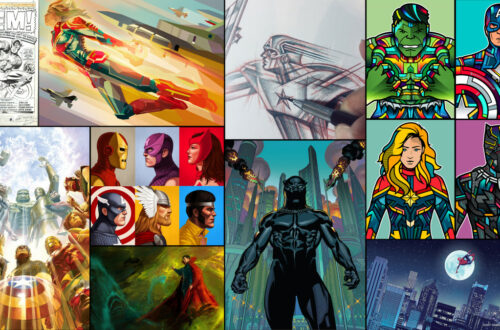 various illustrations of superheroes that will be featured in Disney's Hotel New York - The Art of Marvel at Disneyland Paris