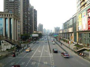 Fuxing Road vom Fußgängerübergang gesehen