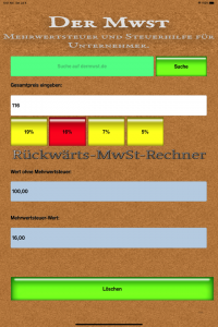 Rückwärts-Mwst-Rechner für iPhone