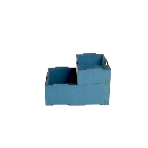 Blå stabelkasse i 2 størrelser