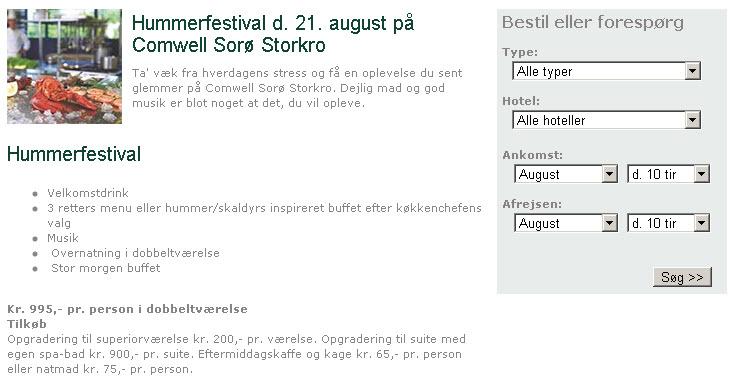 Hummerfestival d. 21. august på Comwell Sorø Storkro