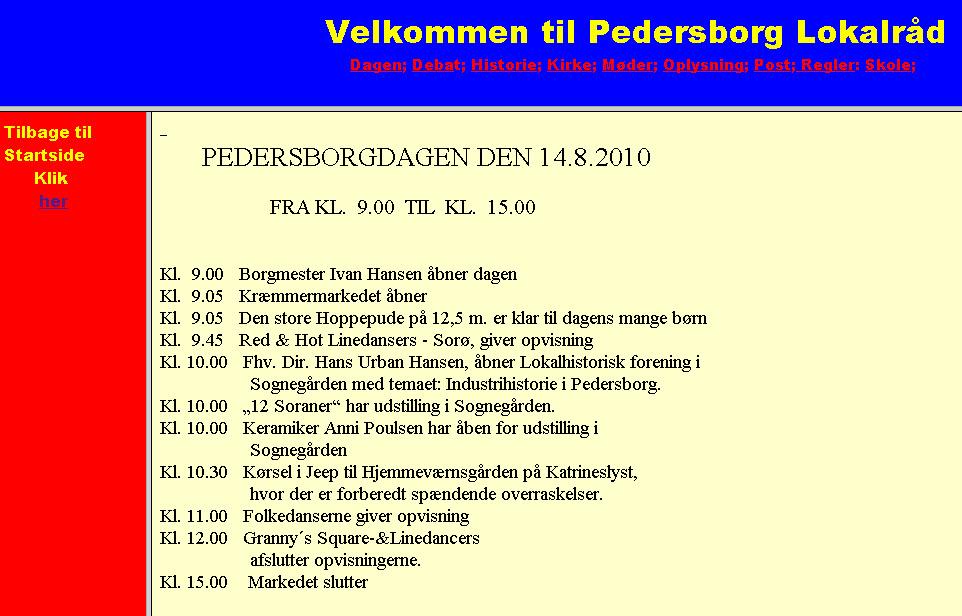 Program for Pedersborgdagen 14. august kl. 9-15