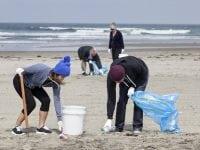 group of volunteers help clean up a public beach