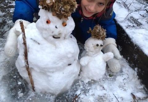 Sne nok til små snemænd
