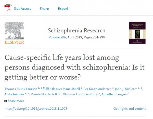 Overdødelighed blandt personer diagnosticeret med skizofreni: bliver det bedre eller værre?