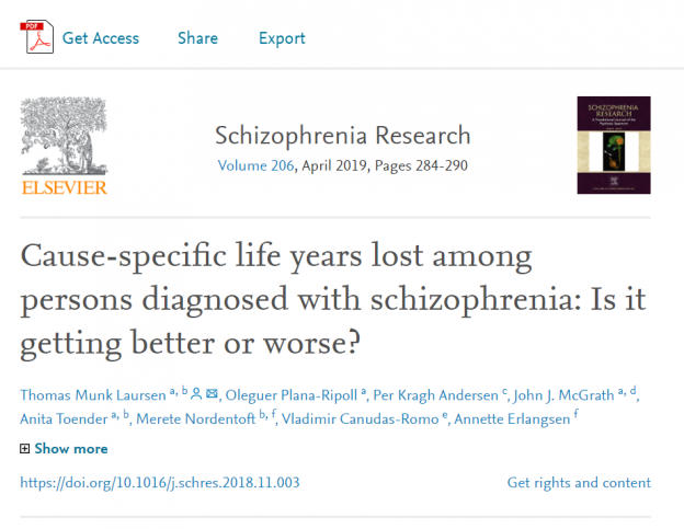 Cause-specific life years lost among persons diagnosed with schizophrenia: Is it getting better or worse?