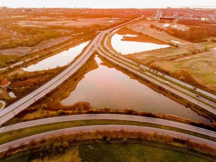 Billeder fra Vejlands Allé og motorvejen.
