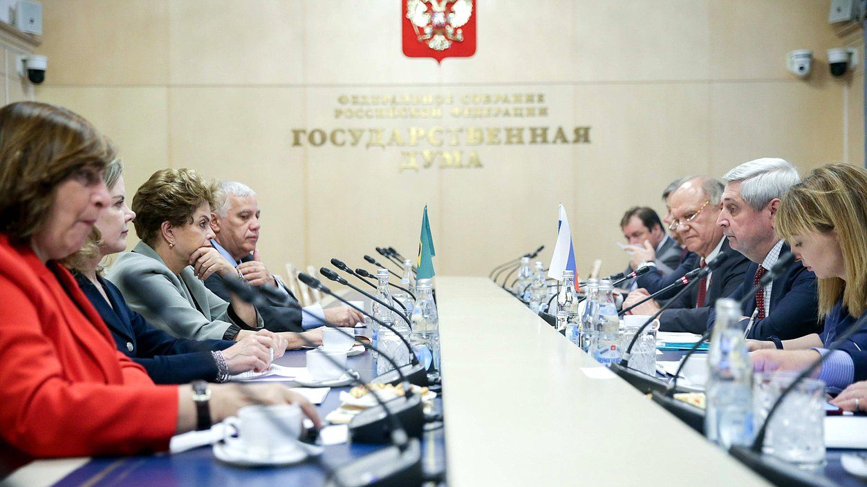 Meeting ofFirst Deputy Chairman oftheState Duma Ivan Melnikov anddelegation oftheWorkers' Party ofBrazil