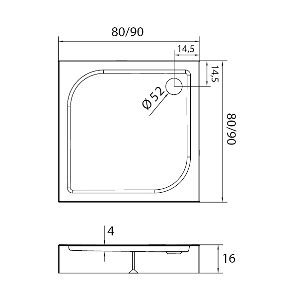 DOMIO™ Kvadrant Dusjkar Hvitt (80 x 80 x 16) tekniske detaljer