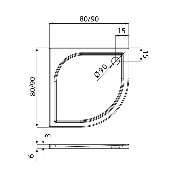 IDEO™ Kvadrant Dusjkar Hvitt (80 x 80 x 6)