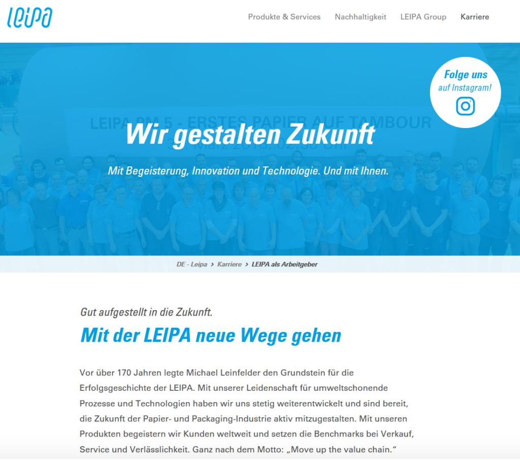 Beispiel einer Karrierewebseite
