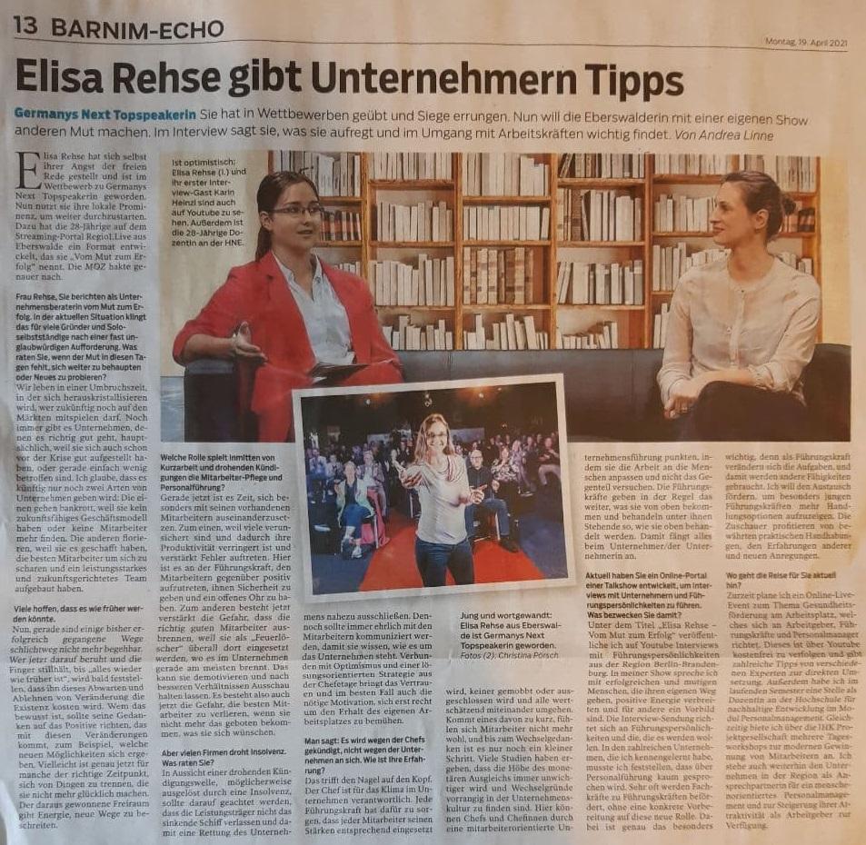 Elisa Rehse gibt Unternehmen Tipps