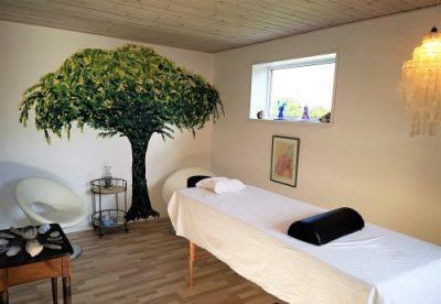 Min klinik med briks samt baggrunds træ og krystalbord