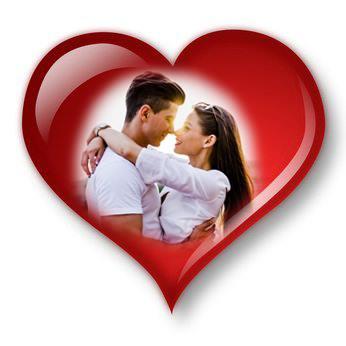 rødt hjerte med hyssende par i midten