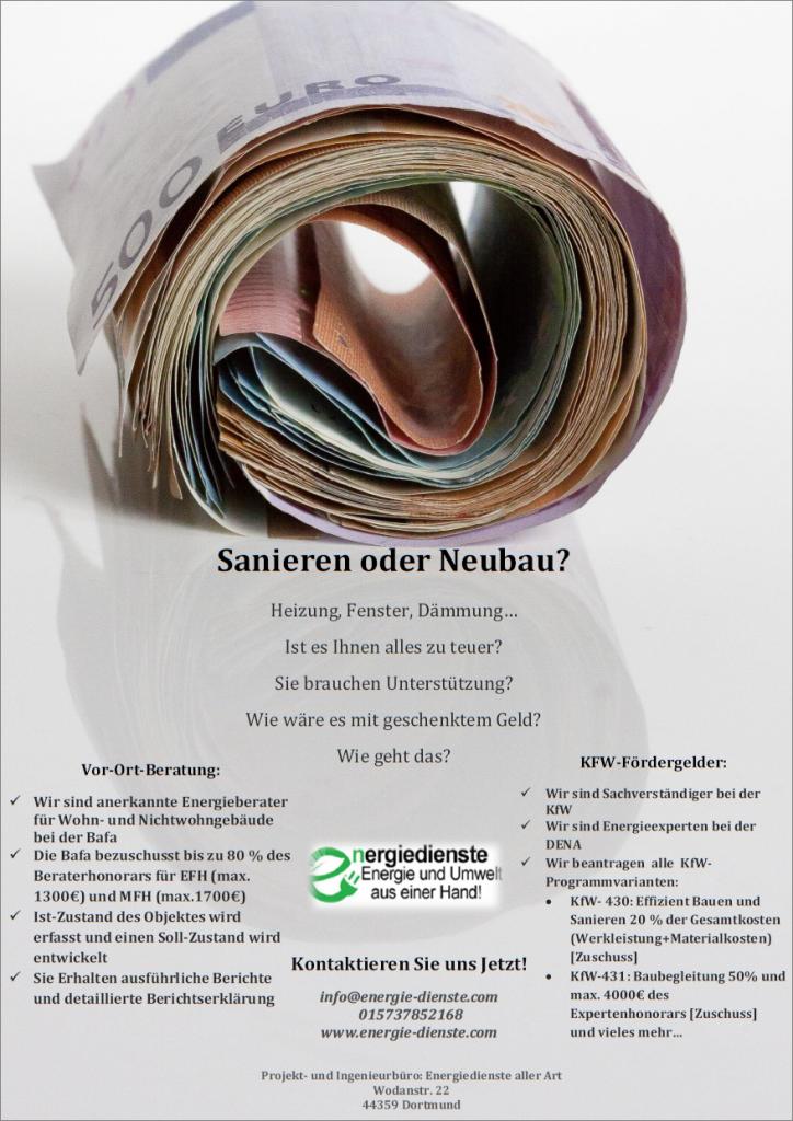Flyer -Sachverständiger der KfW und Energieberater der Bafa in Dortmund.
