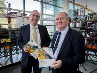 UKCS Workforce Dynamics Review, Director of the RGU Oil and Gas Institute, Professor Paul de Leeuw (left) and CEO of OPITO, John McDonald (right) with the report (photo: OPITO)