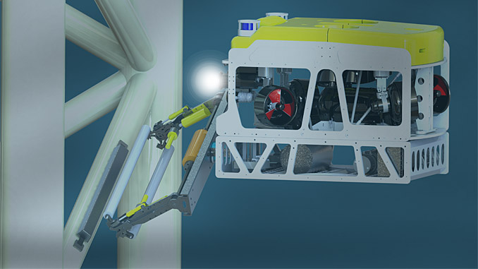 The Saab Seaeye Cougar XT is the only system with the power to employ the SubC anode replacement tool while operating in strong shallow water currents (illustration: SubC Partner)