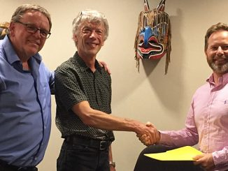 From left, Scott Christie, President, and Dominic Gerelle, Vice President, of Foreshore Technologies, and Craig English, Operations Director of Subsea Services at Briggs Marine